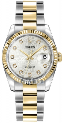 Rolex Datejust 36mm Stainless Steel and Yellow Gold 116233 Jubilee Silver Diamond Oyster