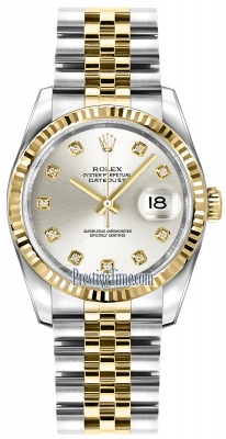 Rolex Datejust 36mm Stainless Steel and Yellow Gold 116233 Silver Diamond Jubilee