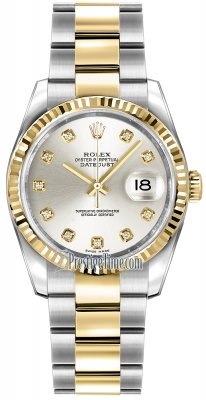 Rolex Datejust 36mm Stainless Steel and Yellow Gold 116233 Silver Diamond Oyster