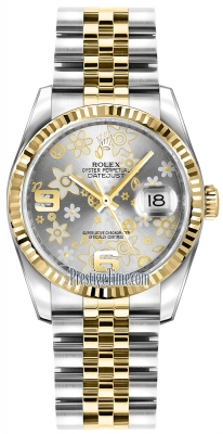 Rolex Datejust 36mm Stainless Steel and Yellow Gold 116233 Silver Floral Jubilee