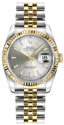 Rolex Datejust 36mm Stainless Steel and Yellow Gold 116233 Silver Index Jubilee