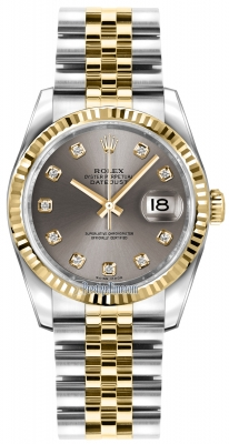 Rolex Datejust 36mm Stainless Steel and Yellow Gold 116233 Steel Diamond Jubilee