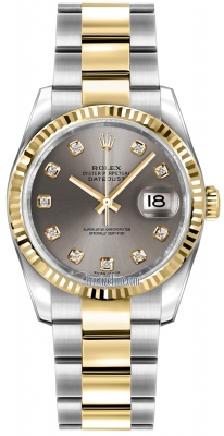 Rolex Datejust 36mm Stainless Steel and Yellow Gold 116233 Steel Diamond Oyster