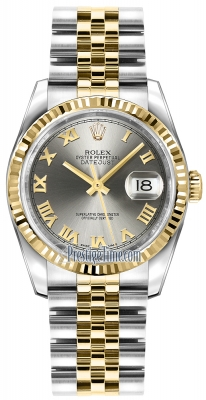 Rolex Datejust 36mm Stainless Steel and Yellow Gold 116233 Steel Roman Jubilee
