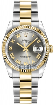 Rolex Datejust 36mm Stainless Steel and Yellow Gold 116233 Steel Roman Oyster