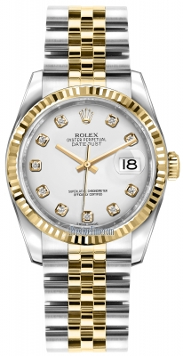 Rolex Datejust 36mm Stainless Steel and Yellow Gold 116233 White Diamond Jubilee