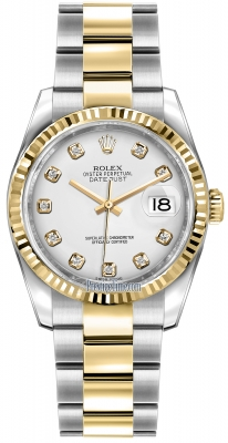 Rolex Datejust 36mm Stainless Steel and Yellow Gold 116233 White Diamond Oyster