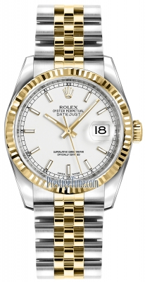 Rolex Datejust 36mm Stainless Steel and Yellow Gold 116233 White Index Jubilee