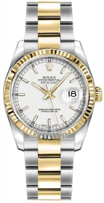 Rolex Datejust 36mm Stainless Steel and Yellow Gold 116233 White Index Oyster