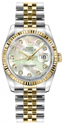 Rolex Datejust 36mm Stainless Steel and Yellow Gold 116233 White MOP Diamond Jubilee