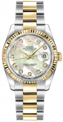 Rolex Datejust 36mm Stainless Steel and Yellow Gold 116233 White MOP Diamond Oyster