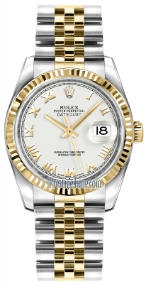 Rolex Datejust 36mm Stainless Steel and Yellow Gold 116233 White Roman Jubilee