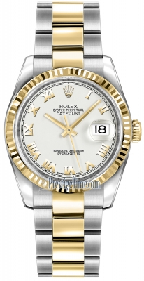 Rolex Datejust 36mm Stainless Steel and Yellow Gold 116233 White Roman Oyster