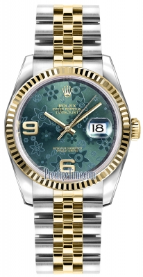 Rolex Datejust 36mm Stainless Steel and Yellow Gold 116233 Green Floral Jubilee