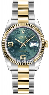 Rolex Datejust 36mm Stainless Steel and Yellow Gold 116233 Green Floral Oyster