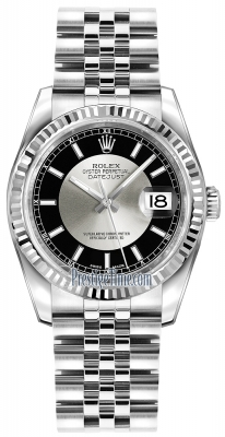Rolex Datejust 36mm Stainless Steel 116234 Black/Silver Index Jubilee