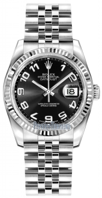 Rolex Datejust 36mm Stainless Steel 116234 Black Concentric Arabic Jubilee