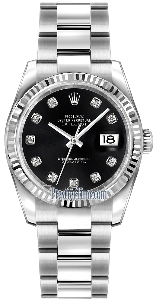 dcbce7f0bc542 Availability. Rolex Datejust 36mm Stainless Steel Midsize Watch Model  Number  116234 Black Diamond Oyster