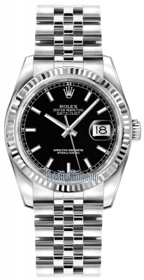 Rolex Datejust 36mm Stainless Steel 116234 Black Index Jubilee
