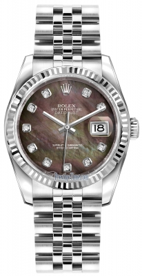 Rolex Datejust 36mm Stainless Steel 116234 Black MOP Diamond Jubilee