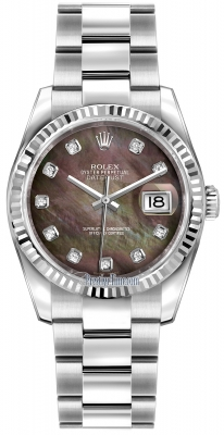 Rolex Datejust 36mm Stainless Steel 116234 Black MOP Diamond Oyster