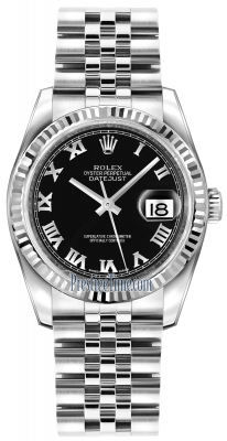 Rolex Datejust 36mm Stainless Steel 116234 Black Roman Jubilee