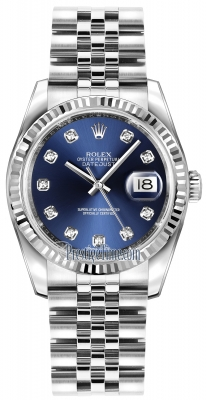 Rolex Datejust 36mm Stainless Steel 116234 Blue Diamond Jubilee