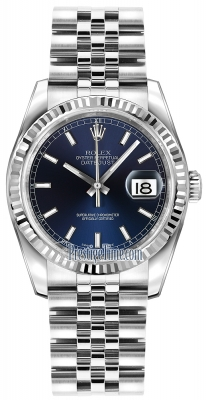 Rolex Datejust 36mm Stainless Steel 116234 Blue Index Jubilee