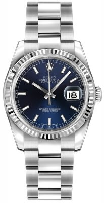 Rolex Datejust 36mm Stainless Steel 116234 Blue Index Oyster