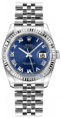 Rolex Datejust 36mm Stainless Steel 116234 Blue Roman Jubilee