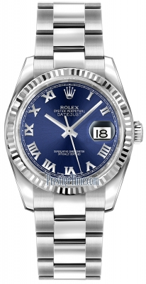 Rolex Datejust 36mm Stainless Steel 116234 Blue Roman Oyster