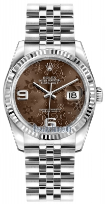 Rolex Datejust 36mm Stainless Steel 116234 Bronze Floral Jubilee