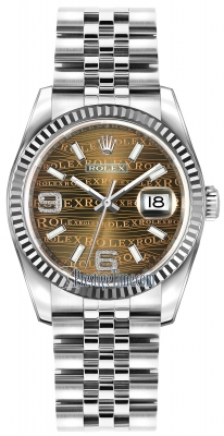 Rolex Datejust 36mm Stainless Steel 116234 Bronze Wave Jubilee