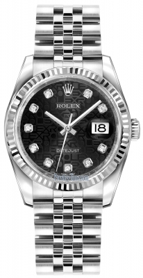 Rolex Datejust 36mm Stainless Steel 116234 Jubilee Black Diamond Jubilee