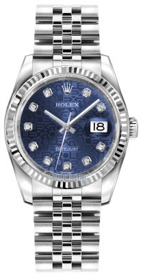 Rolex Datejust 36mm Stainless Steel 116234 Jubilee Blue Diamond Jubilee
