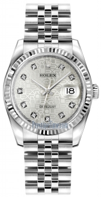 Rolex Datejust 36mm Stainless Steel 116234 Jubilee Silver Diamond Jubilee