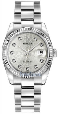 Rolex Datejust 36mm Stainless Steel 116234 Jubilee Silver Diamond Oyster