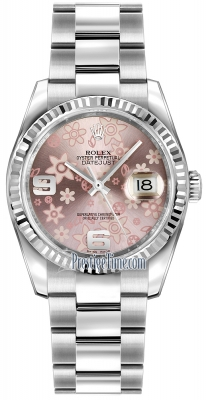 Rolex Datejust 36mm Stainless Steel 116234 Pink Floral Oyster