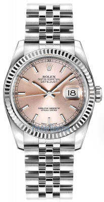Rolex Datejust 36mm Stainless Steel 116234 Pink Index Jubilee