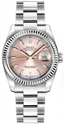 Rolex Datejust 36mm Stainless Steel 116234 Pink Index Oyster