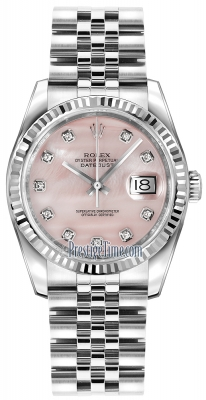 Rolex Datejust 36mm Stainless Steel 116234 Pink MOP Diamond Jubilee