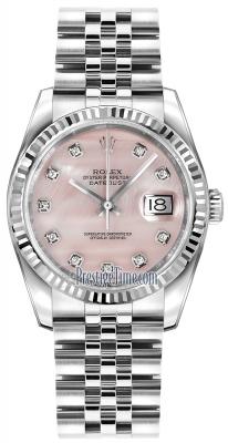 Rolex Datejust 36mm Stainless Steel 116234 Pink MOP Diamond Jubilee