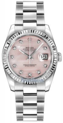 Rolex Datejust 36mm Stainless Steel 116234 Pink MOP Diamond Oyster