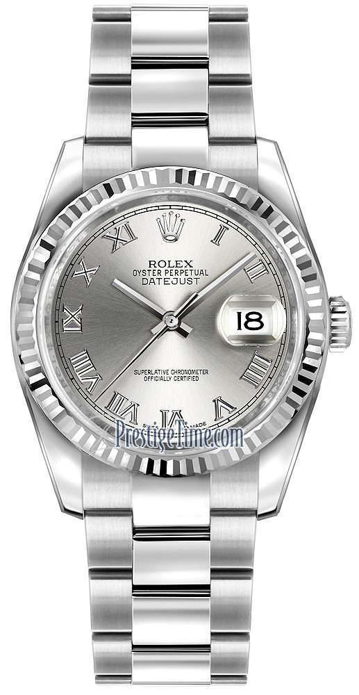 38ce1f71d8d99 Availability. Rolex Datejust 36mm Stainless Steel Midsize Watch Model  Number  116234 Rhodium Roman Oyster