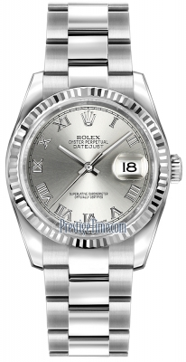 Rolex Datejust 36mm Stainless Steel 116234 Rhodium Roman Oyster