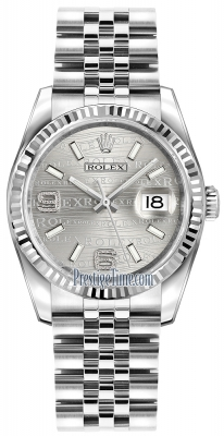 Rolex Datejust 36mm Stainless Steel 116234 Rhodium Wave Jubilee
