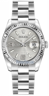 Rolex Datejust 36mm Stainless Steel 116234 Rhodium Wave Oyster