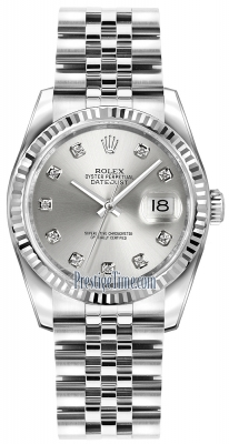 Rolex Datejust 36mm Stainless Steel 116234 Silver Diamond Jubilee