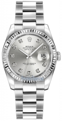 116234 Silver Diamond Oyster