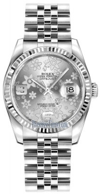 Rolex Datejust 36mm Stainless Steel 116234 Silver Floral Jubilee